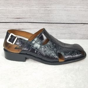 Stacy Adams Mens Black Leather Fisherman Sandals